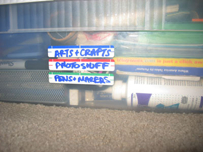 Labeling with painter's tape and Sharpies