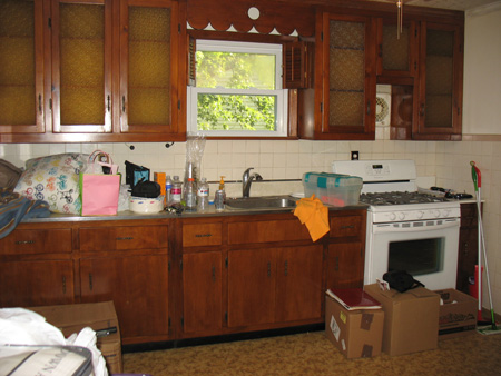 Outdated kitchen cabinets