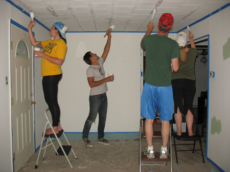 Painting acoustic ceiling tiles