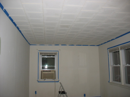 Painted acoustic ceiling tiles