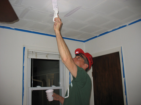 Andrew's Dad using Valspar color-changing ceiling paint