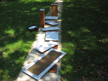 primed cabinets backyard