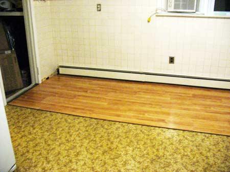 Progress on kitchen floor makeover project