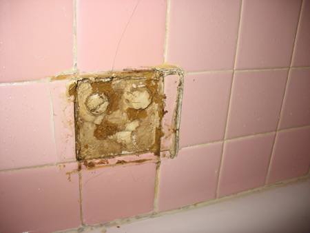Water damaged bathroom tile