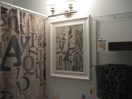 New bathroom mirror, shelf, towel bar
