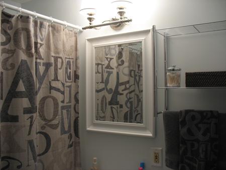New bathroom mirror, shelf, towel bar