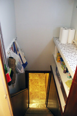 Basement stairwell, storage space