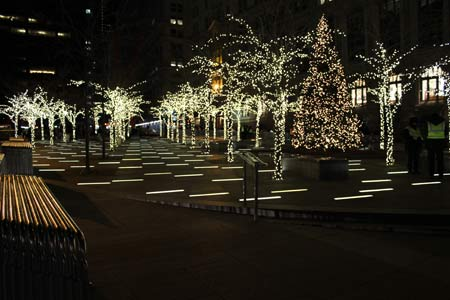 Zucotti Park Decorated for Christmas
