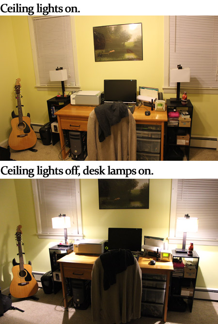 Office lighting with desk lamps
