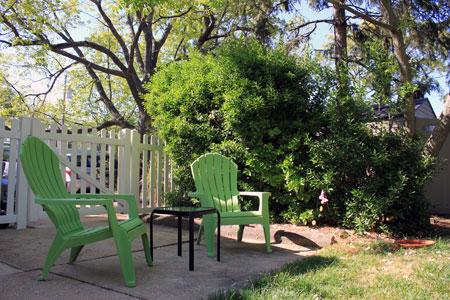 Backyard Green Adirondack Chairs