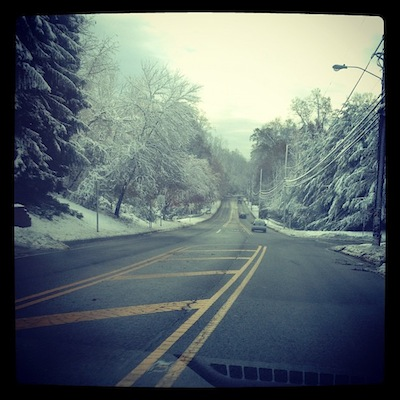 Snowy Road in NJ